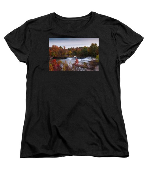 Women's T-Shirt (Standard Cut) featuring the photograph Refreshing Waterfalls Autumn Trees On The Stones River Tennessee by Jerry Cowart