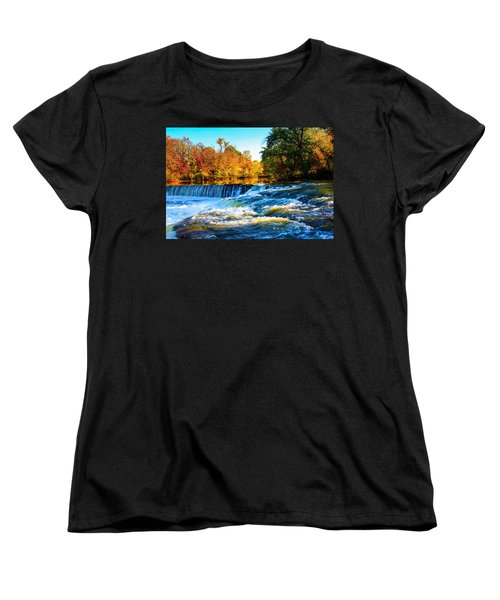 Women's T-Shirt (Standard Cut) featuring the photograph Amazing Autumn Flowing Waterfalls On The River  by Jerry Cowart