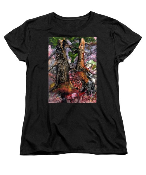 Women's T-Shirt (Standard Cut) featuring the painting Autumn Woods by Sherry Shipley