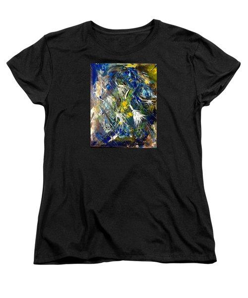 Women's T-Shirt (Standard Cut) featuring the painting Awakening The Bear by Kicking Bear  Productions