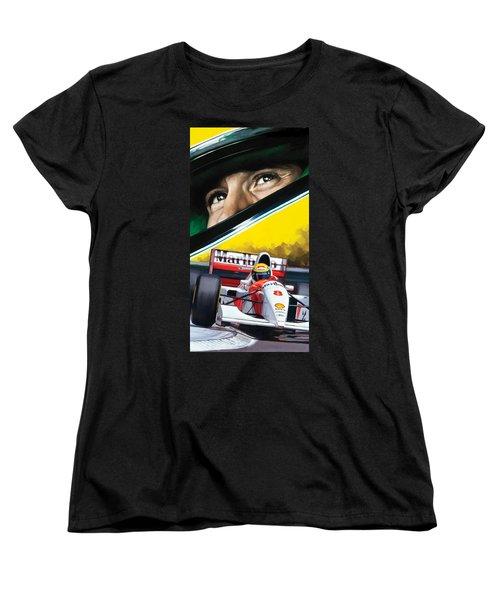 Women's T-Shirt (Standard Cut) featuring the painting Ayrton Senna Artwork by Sheraz A