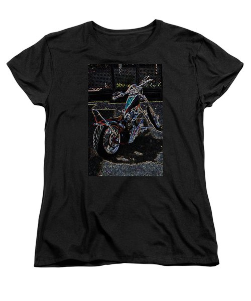 Women's T-Shirt (Standard Cut) featuring the digital art Aztec Neon Art by Lesa Fine