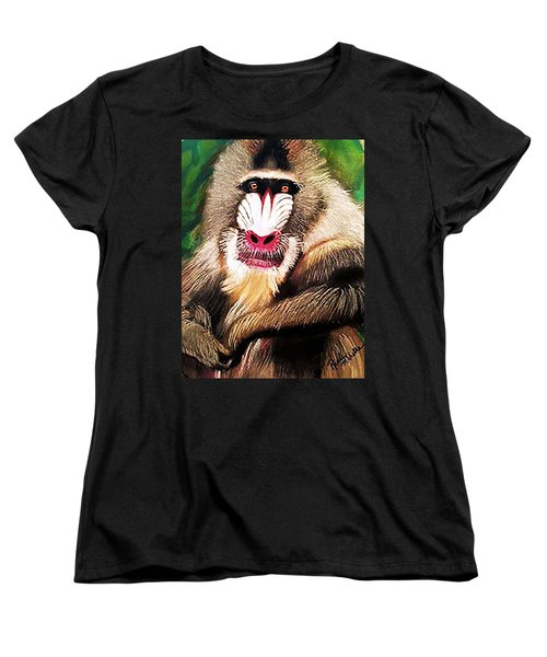 Baboon Stare Women's T-Shirt (Standard Cut) by Renee Michelle Wenker