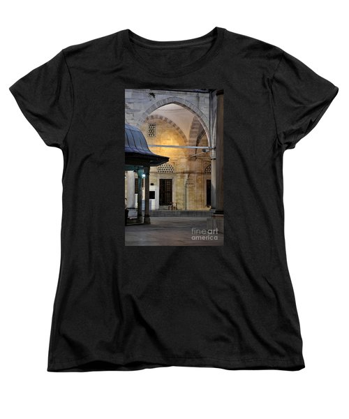 Women's T-Shirt (Standard Cut) featuring the photograph Back Lit Interior Of Mosque  by Imran Ahmed