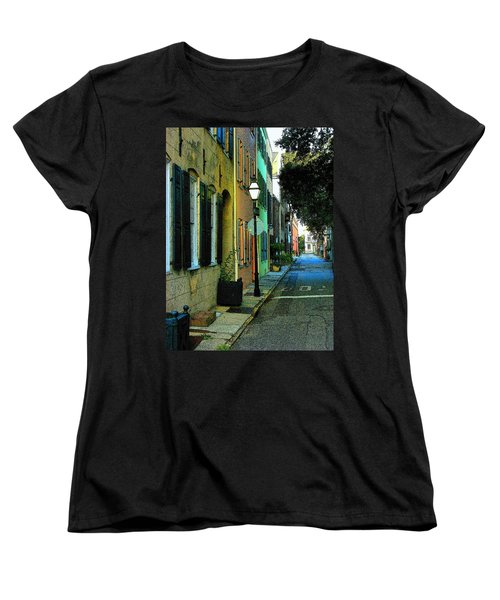 Women's T-Shirt (Standard Cut) featuring the photograph Back Street In Charleston by Rodney Lee Williams