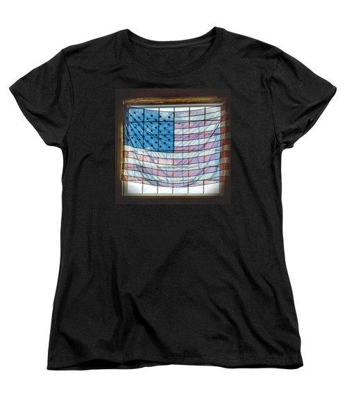 Backlit American Flag Women's T-Shirt (Standard Cut)