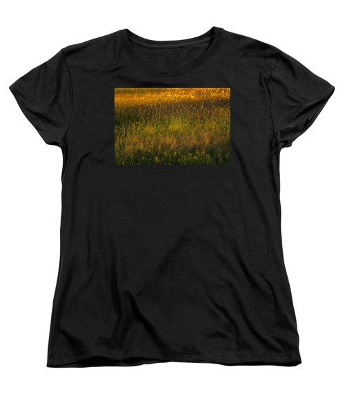 Women's T-Shirt (Standard Cut) featuring the photograph Backlit Meadow Grasses by Marty Saccone