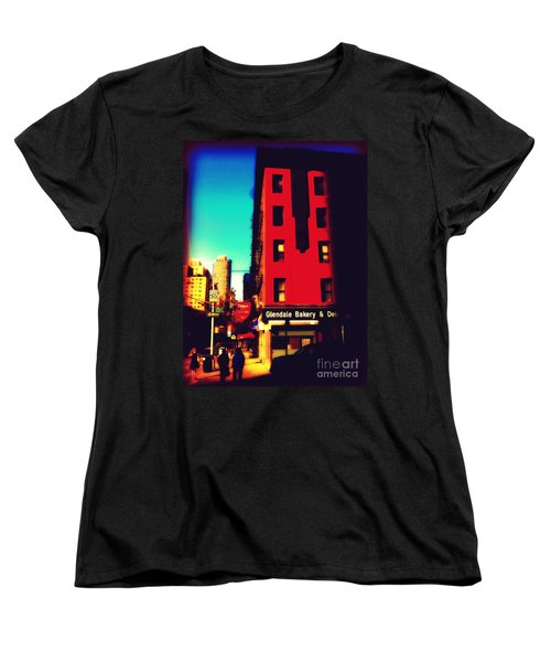 The Bakery - New York City Street Scene Women's T-Shirt (Standard Cut) by Miriam Danar