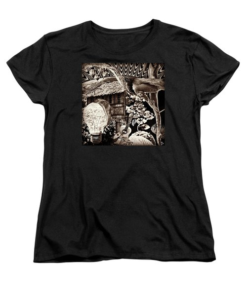 Women's T-Shirt (Standard Cut) featuring the mixed media Ballerina Dreams by Ally  White