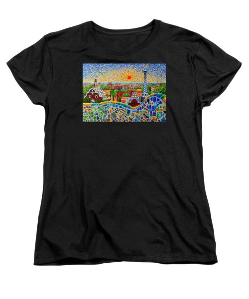 Barcelona View At Sunrise - Park Guell  Of Gaudi Women's T-Shirt (Standard Cut) by Ana Maria Edulescu