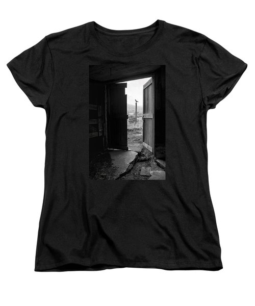 Barn Door - View From Within - Old Barn Picture Women's T-Shirt (Standard Cut) by Gary Heller
