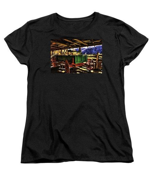 Women's T-Shirt (Standard Cut) featuring the painting Barn by Muhie Kanawati