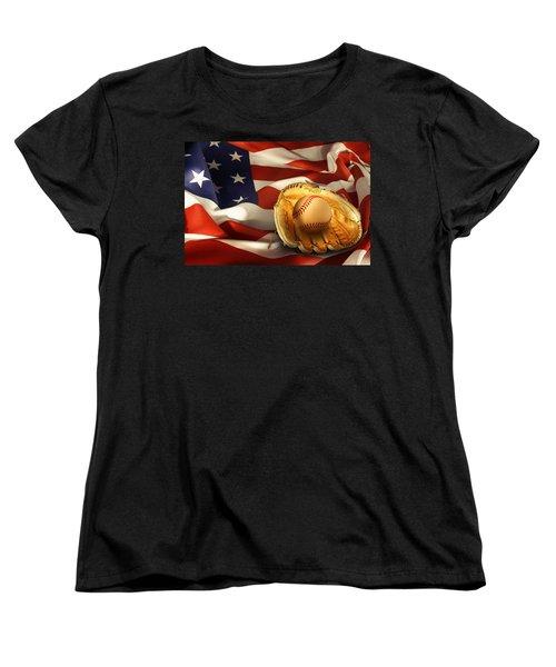 Baseball Women's T-Shirt (Standard Cut) by Les Cunliffe