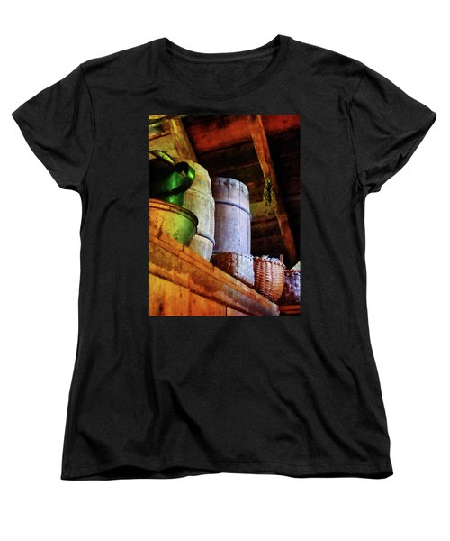 Women's T-Shirt (Standard Cut) featuring the photograph Baskets And Barrels In Attic by Susan Savad