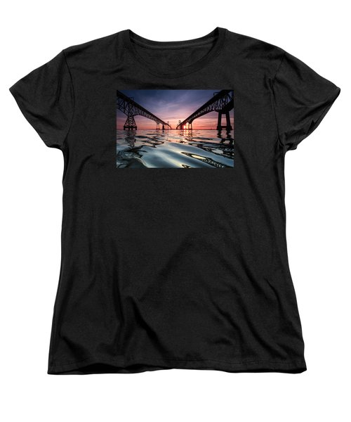 Women's T-Shirt (Standard Cut) featuring the photograph Bay Bridge Reflections by Jennifer Casey