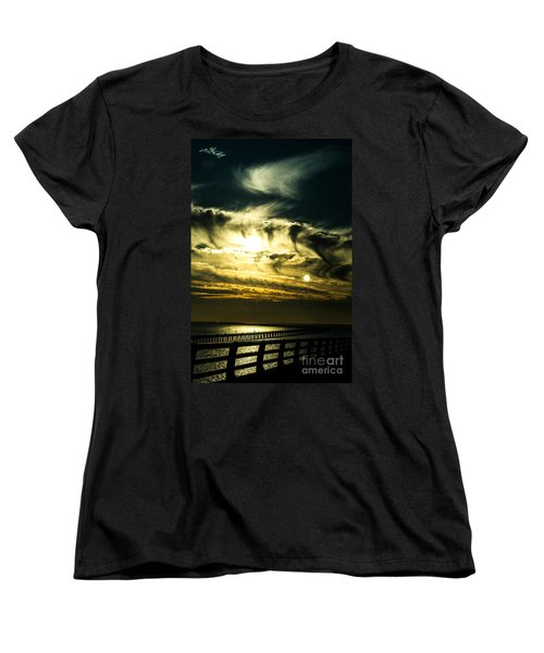 Bay Bridge Sunset Women's T-Shirt (Standard Cut) by Angela DeFrias
