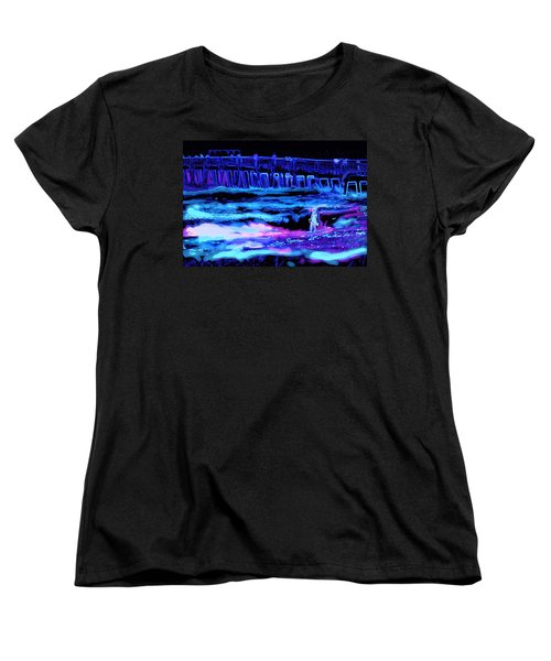 Women's T-Shirt (Standard Cut) featuring the painting Beach Scene At Night by David Mckinney