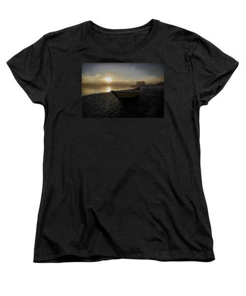 Women's T-Shirt (Standard Cut) featuring the photograph Beached Dory In Lifting Fog  by Marty Saccone