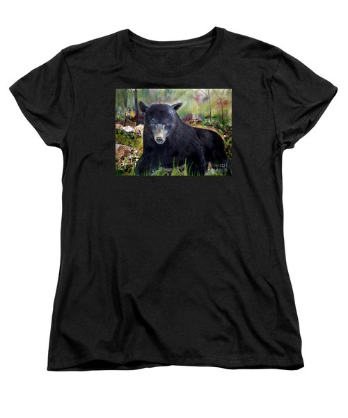 Women's T-Shirt (Standard Cut) featuring the painting Bear Painting - Blackberry Patch - Wildlife by Jan Dappen