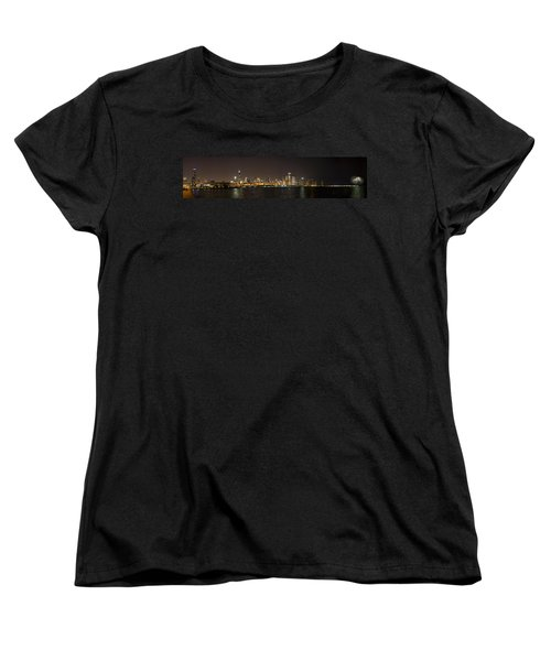 Beautiful Chicago Skyline With Fireworks Women's T-Shirt (Standard Cut) by Adam Romanowicz