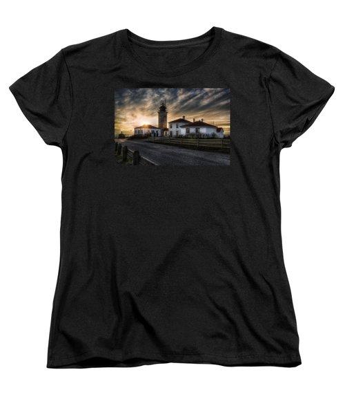 Beavertail Lighthouse Sunset Women's T-Shirt (Standard Cut) by Joan Carroll