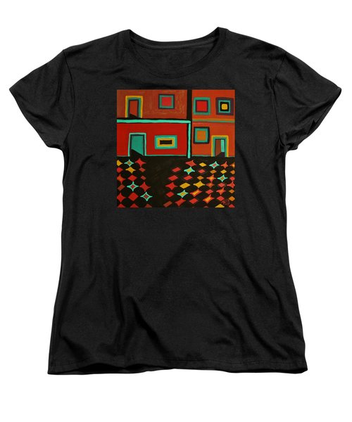 Women's T-Shirt (Standard Cut) featuring the painting Behind Which Door by Barbara St Jean
