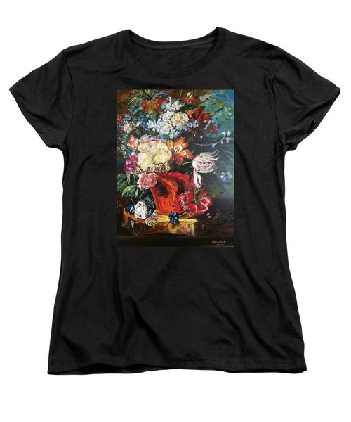 Women's T-Shirt (Standard Cut) featuring the painting Life Is A Bouquet Of Flowers  by Belinda Low