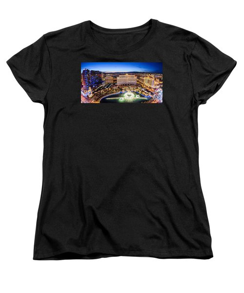 Women's T-Shirt (Standard Cut) featuring the photograph Bellagio Rountains From Eiffel Tower At Dusk by Aloha Art