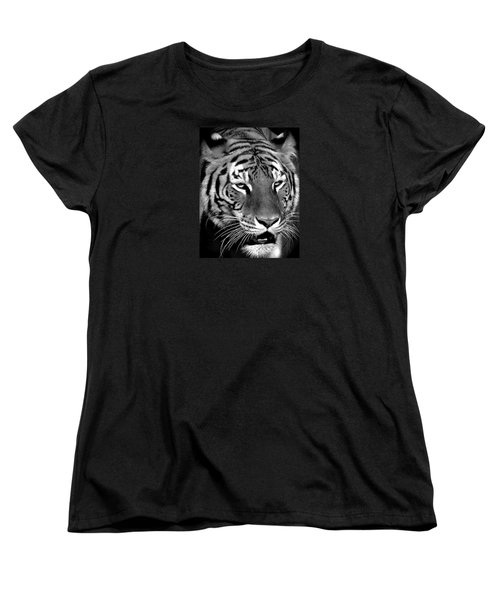 Bengal Tiger In Black And White Women's T-Shirt (Standard Cut) by Venetia Featherstone-Witty