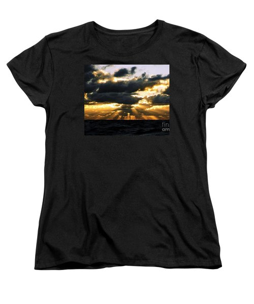 Women's T-Shirt (Standard Cut) featuring the photograph Crespuscular Biblical Rays At Dusk In The Gulf Of Mexico by Michael Hoard