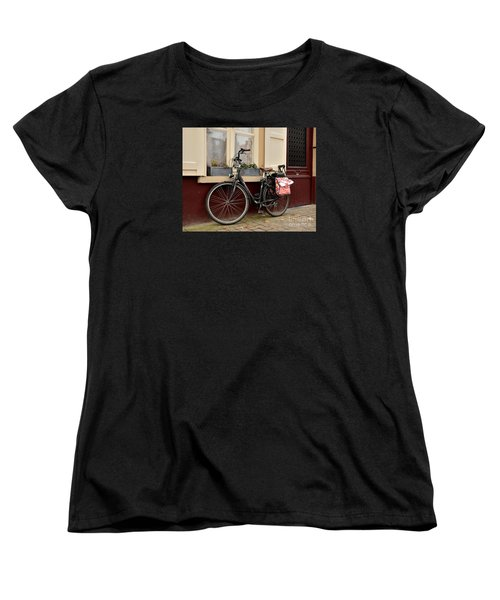 Bicycle With Baby Seat At Doorway Bruges Belgium Women's T-Shirt (Standard Cut) by Imran Ahmed