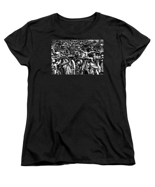 Women's T-Shirt (Standard Cut) featuring the photograph Sea Of Bicycles- Karlsruhe Germany by Joey Agbayani