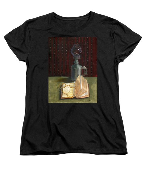 Women's T-Shirt (Standard Cut) featuring the painting Bifocal Read by Doreta Y Boyd