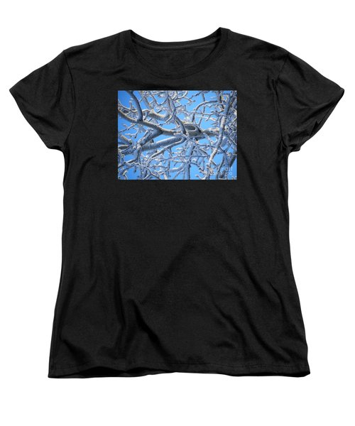 Bifurcations In White And Blue Women's T-Shirt (Standard Cut) by Brian Boyle