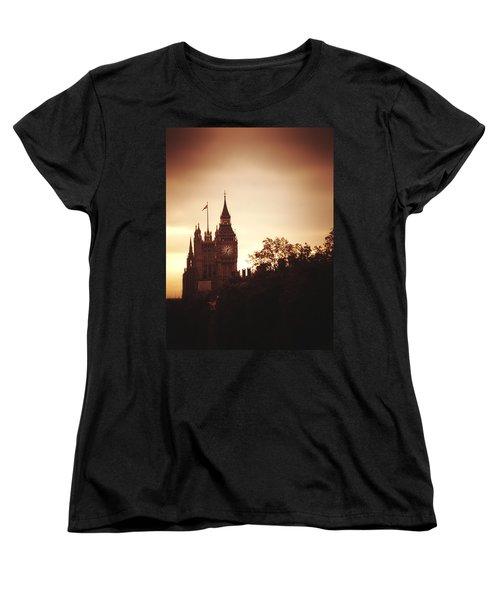 Big Ben In Sepia Women's T-Shirt (Standard Cut) by Rachel Mirror