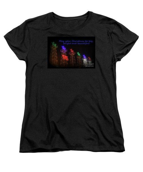 Big Bright Christmas Greeting  Women's T-Shirt (Standard Cut) by Kathy  White