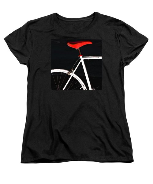 Bike In Black White And Red No 1 Women's T-Shirt (Standard Cut) by Ben and Raisa Gertsberg