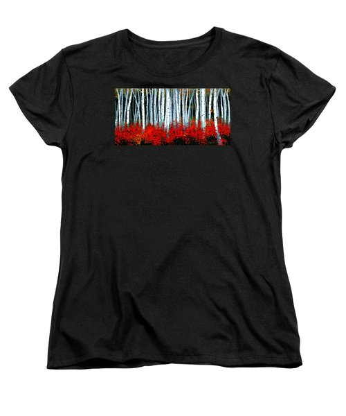 Women's T-Shirt (Standard Cut) featuring the painting Birch 24 X 48  by Michael Swanson