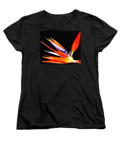 Bird Of Paradise Flower With Oil Painting Effect Women's T-Shirt (Standard Cut) by Rose Santuci-Sofranko