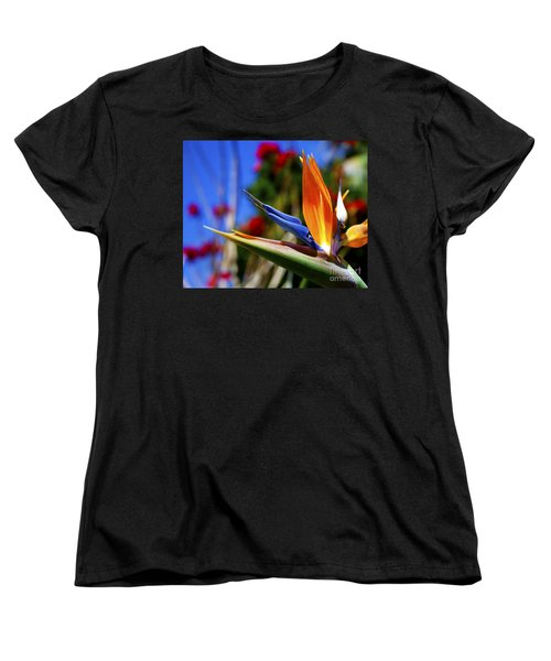 Women's T-Shirt (Standard Cut) featuring the photograph Bird Of Paradise Open For All To See by Jerry Cowart