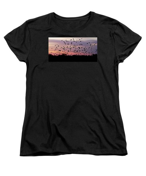 Women's T-Shirt (Standard Cut) featuring the photograph Birds At Sunrise by Aimee L Maher Photography and Art Visit ALMGallerydotcom