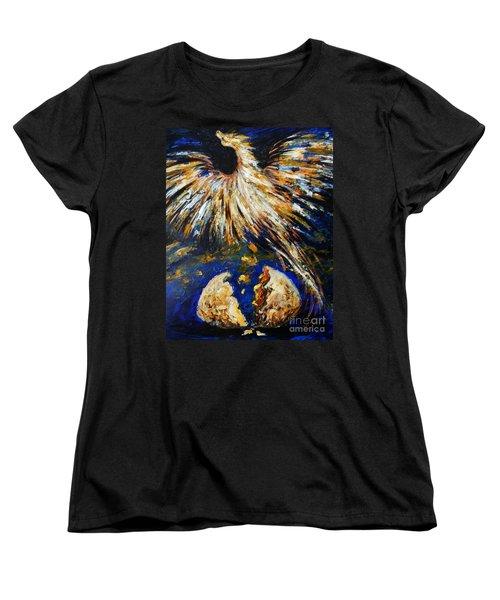 Women's T-Shirt (Standard Cut) featuring the painting Birth Of The Phoenix by Karen  Ferrand Carroll