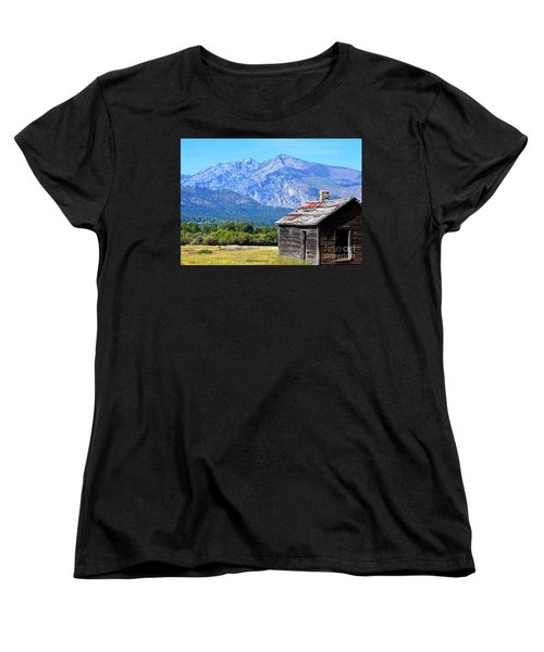 Women's T-Shirt (Standard Cut) featuring the photograph Bitterroot Valley Cabin by Joseph J Stevens