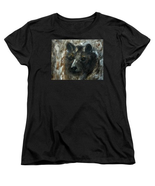 Women's T-Shirt (Standard Cut) featuring the painting Bjomolf - Bear Wolf by Barbie Batson