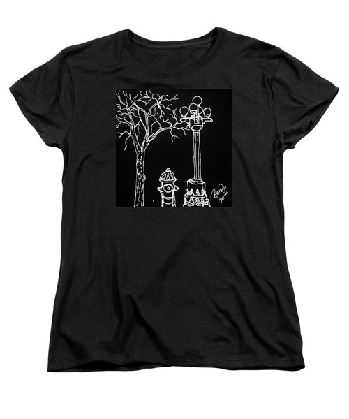 Women's T-Shirt (Standard Cut) featuring the drawing Black Book 08 by Rand Swift