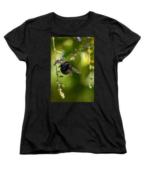 Black Bumblebee Women's T-Shirt (Standard Cut) by Debra Martz