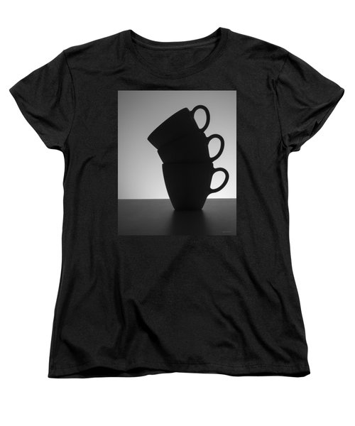 Women's T-Shirt (Standard Cut) featuring the photograph Black Coffee Cups by Steven Milner