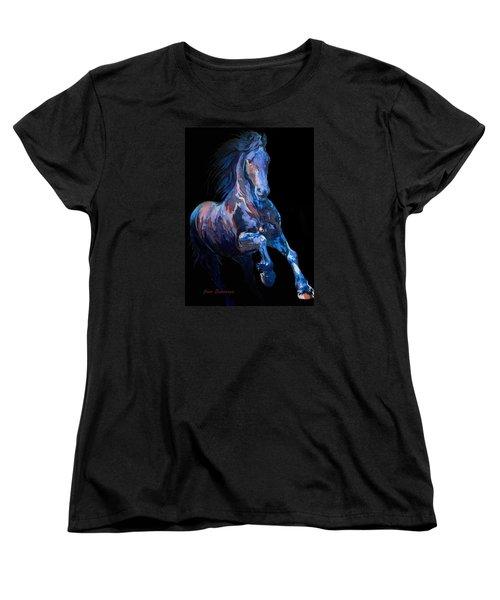 Black Horse In Black Women's T-Shirt (Standard Cut)