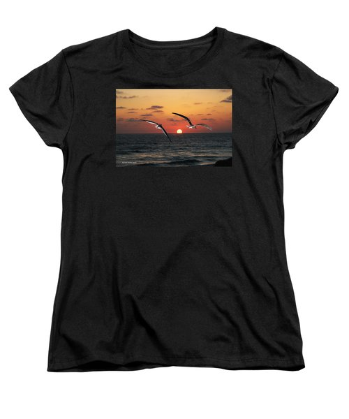 Women's T-Shirt (Standard Cut) featuring the photograph Black Skimmers At Sunset by Tom Janca