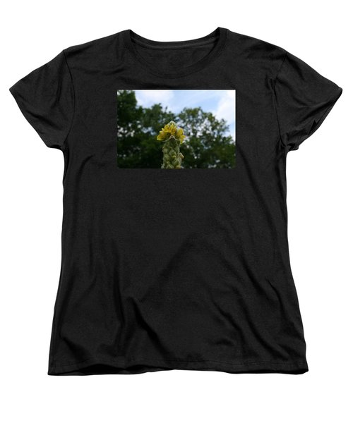 Women's T-Shirt (Standard Cut) featuring the photograph Blended Golden Rod Crab Spider On Mullein Flower by Neal Eslinger